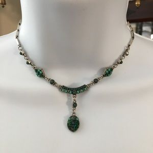 Silver turquoise adjustable necklace